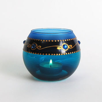 Royal Turquoise Hand painted Candle Holder with Blue glass stones Turquoise Tea light holder Home decor Wedding Mother's day gift Birthday