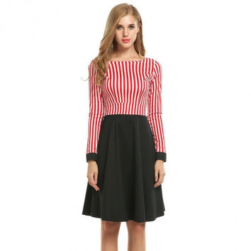 Women Long Sleeve Striped Patchwork Fit And Flare Swing Dress