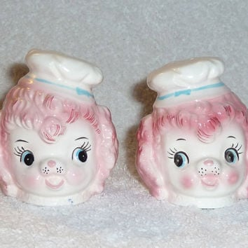 Vintage Pink Poodle Dog Lefton Salt and Pepper Shakers Napco 1950s Figurines