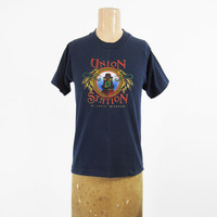 Vintage Union Station T-shirt Railroad St Louis Missouri Train Made in USA - Small / XS