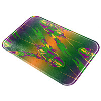 Mardi Gras Crawfish All Over Glass Cutting Board