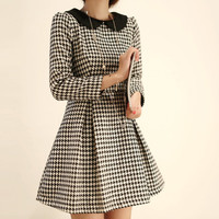 Plaid Peter Pan Collar Long Sleeve  Mini Dress