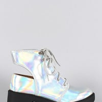 Qupid Hologram Round Toe Lace Up Cutout Booties