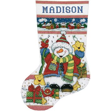 """Snowman Fun Stocking Counted Cross Stitch Kit 17"""" Long 14 Count"""