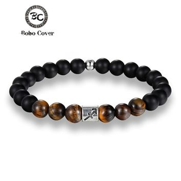 12 Zodiac Signs 8mm Tiger eye Stone Beads Bracelets Vintage Constellation Horoscope Elastic Bracelets For Men Women Jewelry