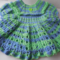 Toddler Dress - 24 Months - Blue and Green - Crochet Dress - Ready to Ship