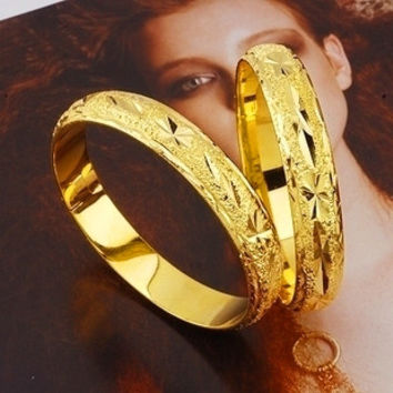 Low price Noble Handcarved 24k Yellow Gold Filled Lady's Bangle 60mm Openable Bracelet Women GF Jewelry 10mm Width free shipping
