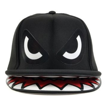 Leegoal Shark Mouth Teeth Double Brim Trucker Hat Snapback Cap