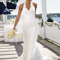 Allover Beaded Lace with Illusion Halter Neckline - David's Bridal