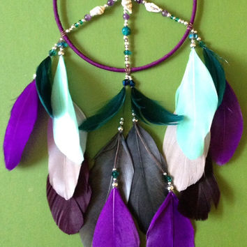 Dream Catcher - Peace - Purple - Sea Shells - Blue, Gray - Hippie - Bohemian