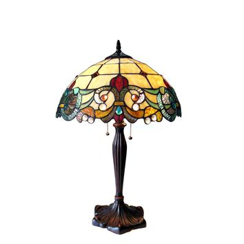 """DULCE Tiffany-style 2 Light Victorian Table Lamp 16"""" Shade"""