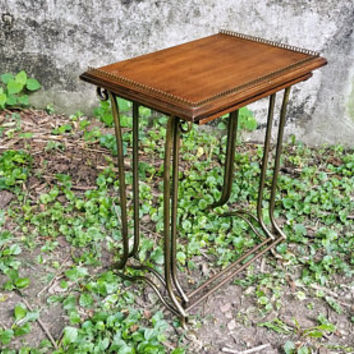 Brandt Pair Dark Wood Art Nouveau Style Nesting Tables