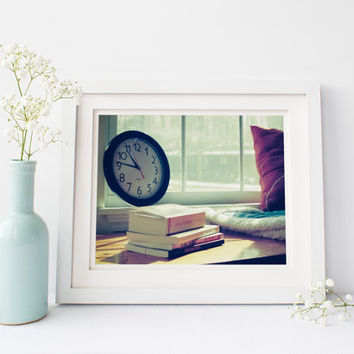 Still life print, stack of books in window seat, fine art photography, winter, clock, vintage film, wall art, home decor, read, cozy, relax