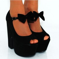 Ladies Womens Black Bow Chunky Wedged Platforms