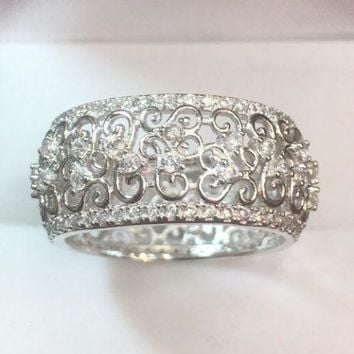 14k White Gold On Sterling Silver 3ct CZ Round Eternity Wide ring Band Size 7.75