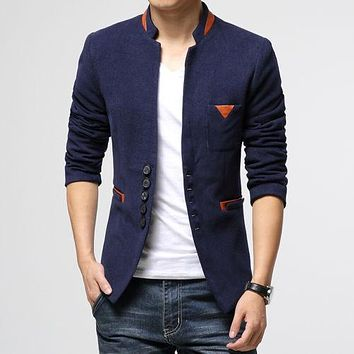 Spring And autumn Men Casual Slim Fit Suit Jacket Coat Cotton Fashion Blazer Jacket Outwear 3 Colours