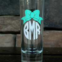 Monogrammed Shot Glass perfect for bachelor bachelorette parties wedding gift finally 21 gift Greek monogram bow monogram