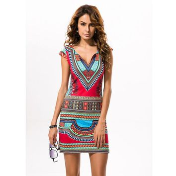 2017 Sexy Women Summer Raditional African Print V-Neck Dress Bodycon Casual Dresses Short Sleeve Vestidos Dashiki Beach Dress