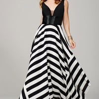 Jovani In Stock 33959 Size 4 Black Ivory Striped Prom Dress Evening Gown