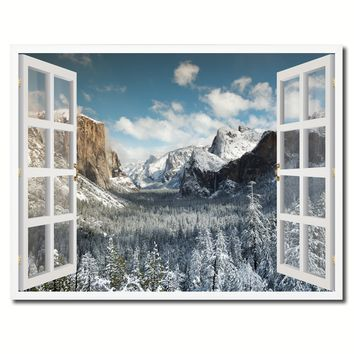 Bridal Veil Falls Yosemite National Park Winter Picture French Window Framed Canvas Print Home Decor Wall Art Collection