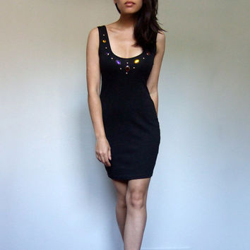 80s Mini Dress Black Bodycon Jeweled Studded Fitted Deep Back Dress - Extra Small Medium XS S M