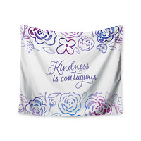 """Noonday Design """"Kindness Is Contagious"""" Purple Magenta Wall Tapestry"""