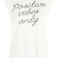 Positive Vibes Only Tee by Tee and Cake - Ecru