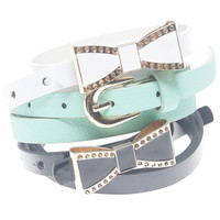 Metal Bow Buckle Skinny Belt Set | Wet Seal
