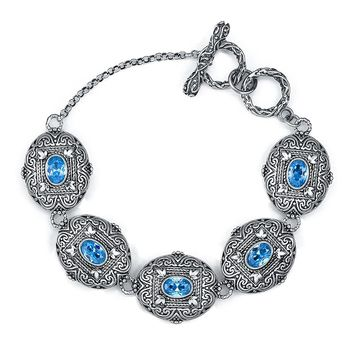 Merthus Antique Vintage Style Oval Blue Topaz Gemstone Link Bracelet for Women