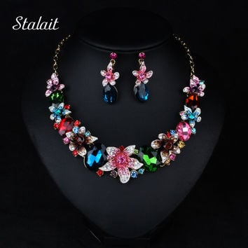 Fashion Bridal Wedding Jewelry Color Crystal Rhinestone Flower Water Drop Jewelry Set Statement Chunky Choker Necklace Earring