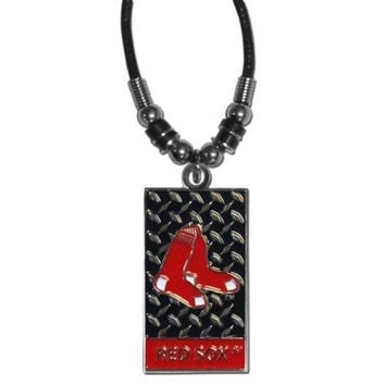 MLB Officially Licensed Gridiron Diamond Plate Rope Necklace (Boston Red Sox)