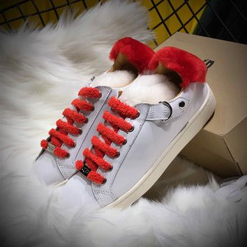 Ozlana Ugg The Fluffy Loafer White Red Sneakers - Best Online Sale