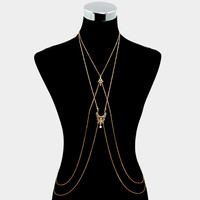 Boho Double Layered Body Chain, Festival Chain Harness - Gold