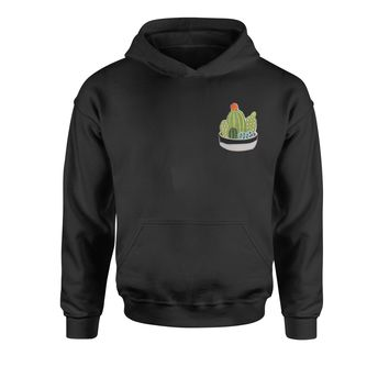 Embroidered Cactus Succulents Patch (Pocket Print) Youth-Sized Hoodie