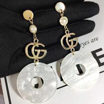 "Hot Sale ""GUCCI"" 925 Newest Fashion Women White Circular Shell Pendant Long Style Earrings Accessories Jewelry I13711-3"