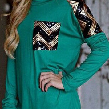 Green Zig Zag Sequins Pocket Long Sleeve T-Shirt