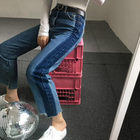 side stripe blue ripped jeans women denim trousers patchwork street straight jean femme pantalon vaqueros mujer jeans donna