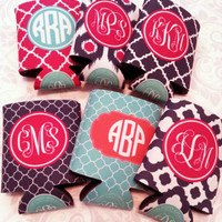 6 Personalized Koozies with Names - Perfect Bridesmaids/ Bachelorette Party Gifts- Customize Colors