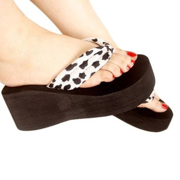 US SIZE Women Flip Flops Leopard Sandal Platform Wedges Slippers brand new