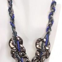 Pewter Multi Bead Woven Braided Chain Necklace