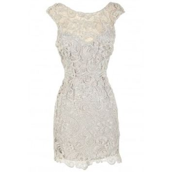 Lily Boutique Alythea Silver Metallic Lace Overlay Fitted Dress Lily Boutique