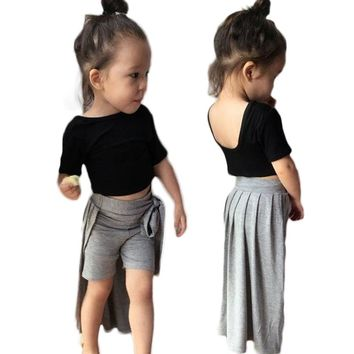 24M-6T Baby Girls Clothing Sets Black T-shirt and Grey Skirt 2Pcs/Sets Kids Clothes  Summer Children Clothing Girls Costume