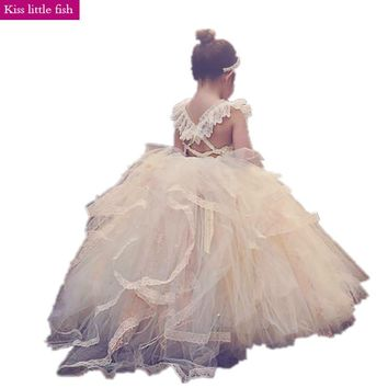 Free shipping High quality  Champagne  Flower girl dresses  Kids beauty pageant dresses  Free Custom made