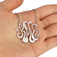 ON SALE Monogram Necklace, Designed and Sketched Monogram Necklace, 1.5 inches Gold Plated Monogram Necklace, Personalized Necklace, Gift
