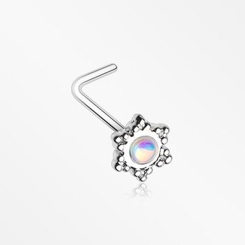 Iridescent Snowflake Sparkle L-Shaped Nose Ring