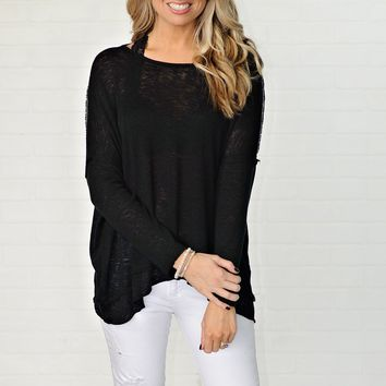 * Esme Lightweight Pullover w/ Twisted Open Back : Black