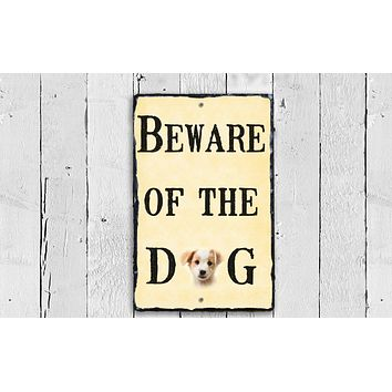 Customizable Slate House Sign - Beware of The Dog Plaque - Handmade and Personalized