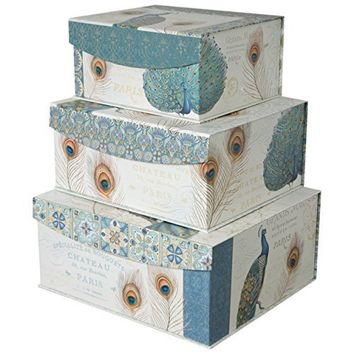 Decorative Storage Organizer boxes with Magnetic Sealable Lids (Set of 3) (Peacock)