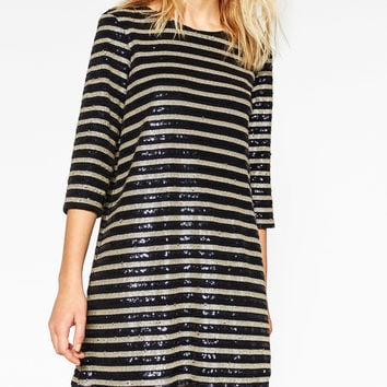 STRIPED SEQUINNED DRESS DETAILS