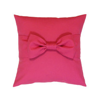 "Easter Sale! Pink Bow Pillow Cover, 18"" x 18"". Hot Pink Pillow. Bow Pillow. Decorative Pillow Cover."